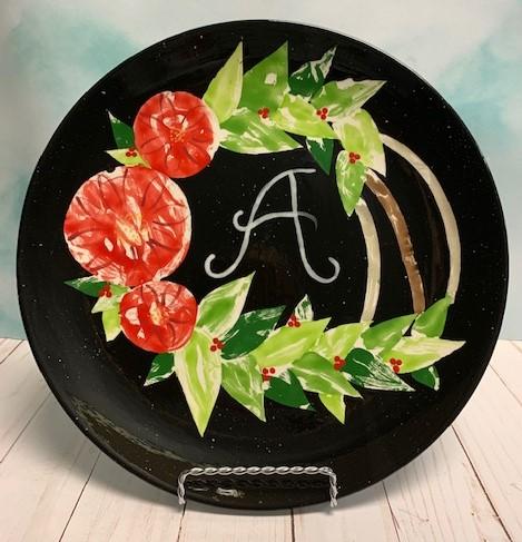 Holiday Wreath Monogram Plate