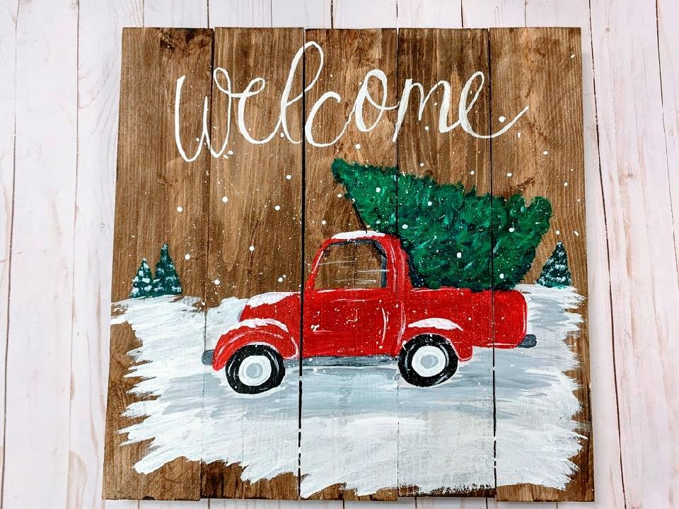 Vintage Truck w/ Tree on Wooden Canvas